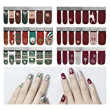 6 Sheets Full Nail Wraps Art Polish Stickers Decal Strips Adhesive False Nail Design Manicure Set With 1Pc Nail Buffers FilesFor Women Girls-Christmas Design (Color: 26-E6)