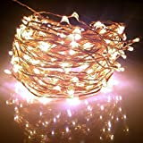 Starry Lights 40Ft / 240 LEDs By Qualizzi® - Soft Warm White LED Color on Extra Long Copper Wire String Light + FREE e-Book - WHITE Power Adaptor 110/240v (for U.S.A & E.U. & AU.)