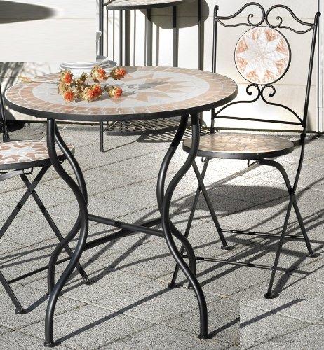 210-357211-357213 Garnitur Sitzgruppe 1 Tisch (Rund) + 2 Klappstühle *Luca* Mosaik Eisen