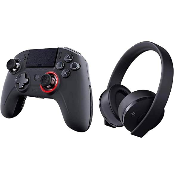 NACON Revolution Unlimited Pro V3 Playstation 4 Wireless Controller & Sony Playstation Gold Wireless Headset 7.1 Gaming Bundle (Color: Black, Tamaño: Controller & Headset Bundle)