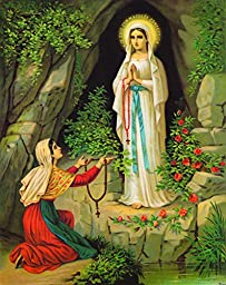Our Lady of Lourdes with Bernadette Traditional Catholic Prints