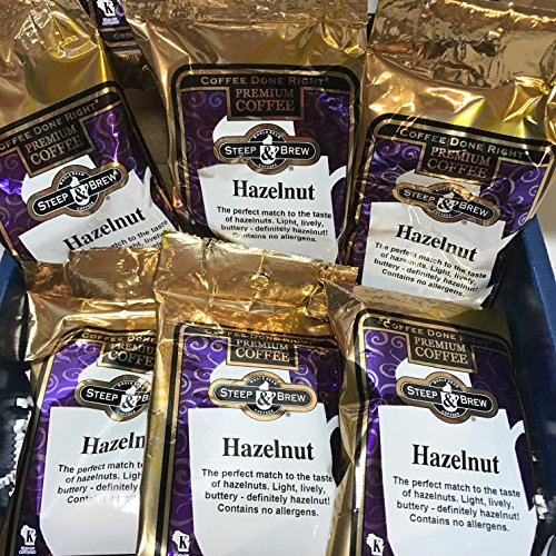 """Steep & Brew Premium Hazelnut Coffee Gift Box Basket - Fresh Roasted Ground """"Coffee Done Right"""" - 6 Pack Single Pot Pouches - Light, Lively, Buttery"""