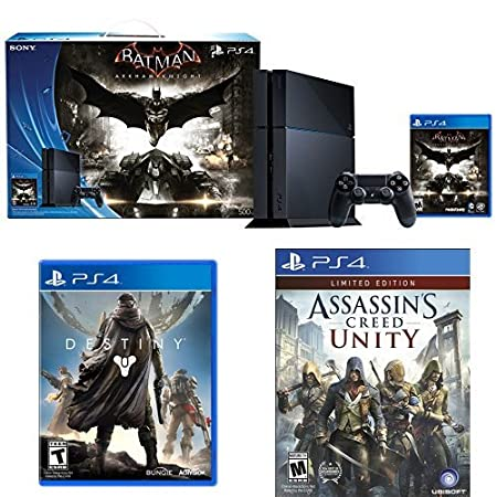 500GB PlayStation 4 Console - Batman Arkham Knight Bundle with Destiny and Assassin's Creed Unity