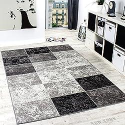 Designer Teppich Kariert in Marmor Optik Meliert Grau Schwarz Weiss Preishammer, Grösse:60x100 cm