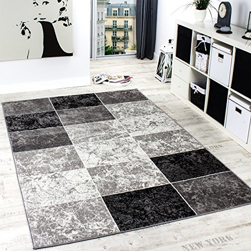 Designer-Teppich-Kariert-in-Marmor-Optik-Meliert-Grau-Schwarz-Weiss-Preishammer-Grsse80x150-cm