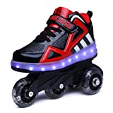 Nsasy Roller Shoes Roller Skates Shoes Girls Roller Sneakers Kids Rechargeable Roller Shoes USB Charging Roller Shoes LED Light Shoes Rechargeable Wheel Shoes Chargeable Shoes Wheel (Color: Black/Red 06(double Wheel), Tamaño: 1.5 M US Little Kid)