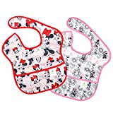 Bumkins Disney Baby Waterproof SuperBib 2 Pack, Minnie Mouse (Classic/Gray) (6-24 Months)