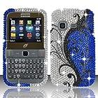 For Samsung S390g (StraightTalk/Net 10/Tracfone) Full Diamond Design Cover - Blue Vines FPD