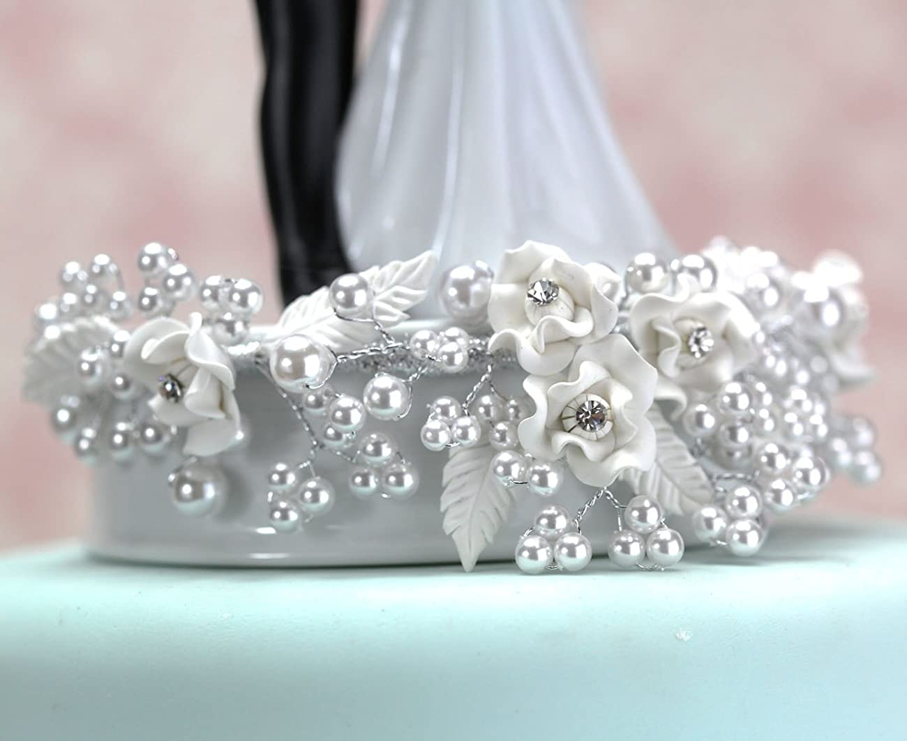 White and Silver Vintage Rose Pearl Wedding Cake Topper: Base Color: White with Silver Wiring 3