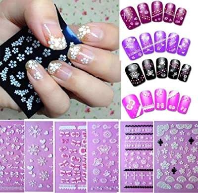 Best Cheap Deal for Sannysis 6PC Flowers Bow Lace Butterfly Snow Nail Art 3D Stickers Beauty Nail Salon For Girls by sannysis - Free 2 Day Shipping Available