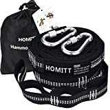 Set of 2 Hammock Straps, Homitt 12FT Tree Hanging Strap Set with Heavy Duty Adjustable 40 Loops for Camping, Hiking or Backyard (2 Free Carabiners Included)