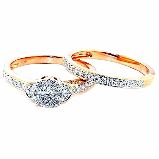 Midwest Jewellery Women's 10K Rose Gold Bridal Set Wedding Ring And Band 1/2Cttw 6.5Mm Wid(I Color 0.5Cttw)