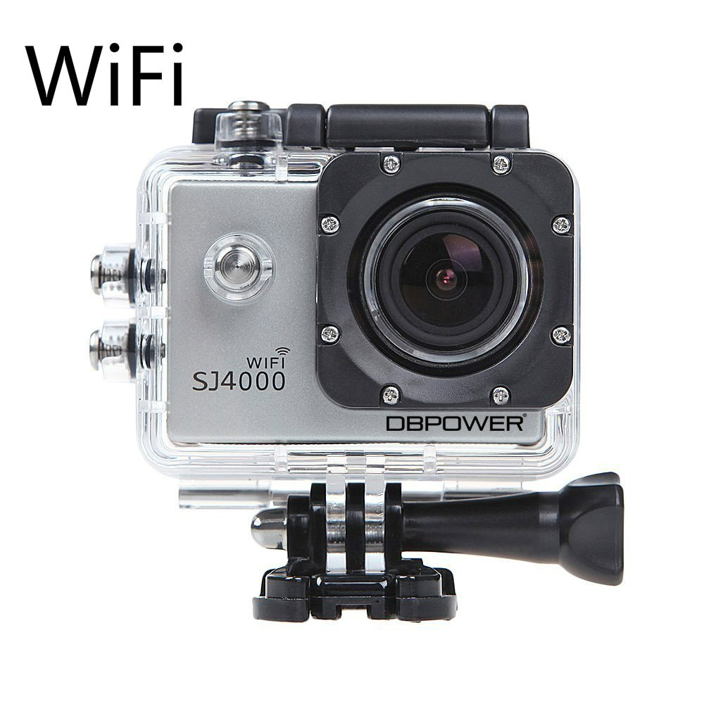 DBPOWER Waterproof Action Camera 12MP 1080P HD with 2 Batteries and Free Accessories Kit (Wifi Silver)