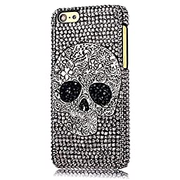 iPhone 5S Case, STENES Luxurious Crystal 3D Handmade Sparkle Diamond Rhinestone Clear Cover with Retro Bowknot Anti Dust Plug - Big Skull / Silver