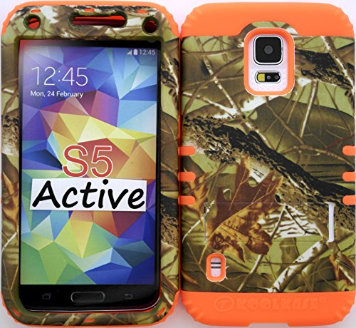 Wireless Fones Tm Samsung Galaxy S5 Active ((Not For S5 & S5 Mini)) Case Dual Layer Hybrid Impact Resistant Protective Exclusive Camo Mossy Case Over Orange Skin.