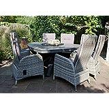 Gartentisch, dreibeinig mit einem Aluminiumgestell in anthrazit und einer Polywood-Tischplatte in zementfarben, Maße: B/H/T ca. 170/74/170 cm