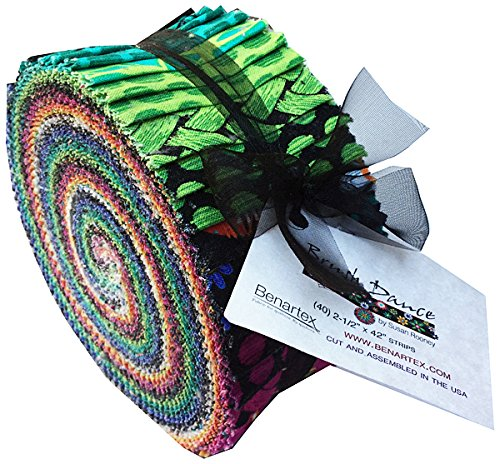 Benartex BRUSH DANCE Pinwheel 2.5-inch Quilting Strips Jelly Roll Fabric Susan Rooney JRBRUPK (Quilt Fabric Jelly Roll Dots compare prices)