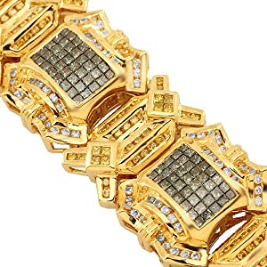 14K Yellow Gold Mens Diamond Bracelet with Blue and Yellow Diamonds 19.65 Ctw