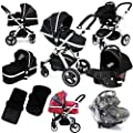 i-Safe System - Black Grey Travel System Pram & Luxury Stroller 3 in 1 Complete With Footmuff, Head support, Carseat Footmuff, All the Raincovers iSafe from iSafe