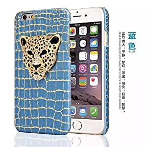 FONOVO Luxury Crystal Rhinestone Bling 3D Leopard Phone Case Cover for iPhone 6/6s (BLUE)