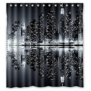 Unique And Generic New York Skyline Black And White Shower Curtain Custom Printed