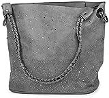 styleBREAKER Handtaschen Set mit Strassapplikation im Sternenhimmel Design, 2 Taschen 02012013, Farbe:Grau