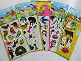 5 x small sheets of dinosaur, T-Rex, Animals, Cars, Insects, Bugs, Fashion Stickers for kids Girls boys, craft, scrap books, card making, gift party bags (5 x dog & bird stickers)