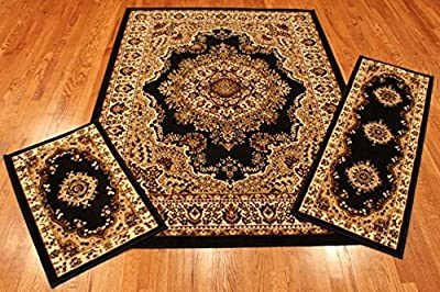 Rug and Decor Elements Collection 3 Piece Area Rug Set Area Rug Scatter and Runner #3120 Black Oriental Area Rug Set