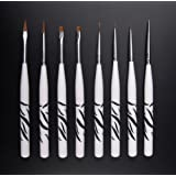 BeeChamp 8pcs UV Gel Acrylic Nail Art Design Fine Brushes Angle Round Painting Pen Detailer Liner Set (Color: white)