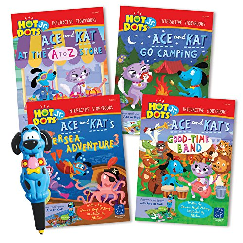 EDUCATIONAL INSIGHTS HOT DOTS JR. INTERACTIVE STORYBOOKS, 4-BOOK SET WITH ACE PEN - 1