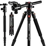 "Horizontal Arm Professional Camera Tripod & Monopod – Portable Tripod Stand with 360° Ball Head – 67"" DSLR Tripod for Video – Lightweight Aluminum Travel Tripod (Color: tripod, camera tripod for canon nikon sony, Tamaño: tripod, camera tripod for canon nikon sony)"