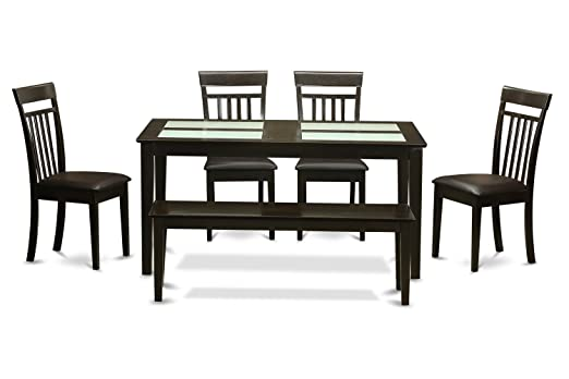East West Furniture CAP6G-CAP-LC 6-Piece Kitchen Table with Bench