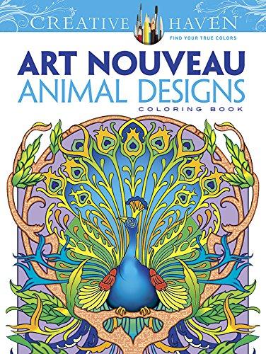 Dover Creative Haven Art Nouveau Animal Designs Coloring Book (Creative Haven Coloring Books)