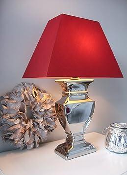 tischleuchte tisch lampe leuchte 45 cm silber schirm bordeaux shabby landhaus da218. Black Bedroom Furniture Sets. Home Design Ideas