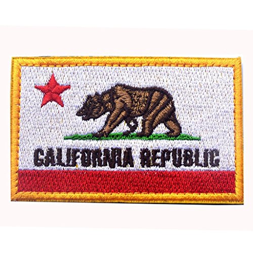 SpaceCar USA California Republic CA State Flag Veclro Tactical Morale Patches Golden White (Ca Republic Patch compare prices)