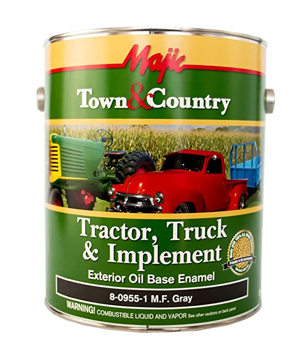 Majic Paints 8-0955-1 Town & Country Tractor, Truck & Implement Oil Base Enamel Paint, 1-Gallon, M.F. Gray (Color: M.F. Gray, Tamaño: Gallon)