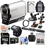 Sony Action Cam HDR-AS200VR Wi-Fi HD Video Camera Camcorder & Live Remote + 64GB Card + 2 Helmet, Flat & Suction Cup Mounts + Battery + Backpack Kit