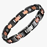 USWEL Magnetic Therapy Bracelet from Ceramic and Tungsten Carbide Pain Relief for Arthritis and Blood Pressure (Color: Black, Tamaño: 8