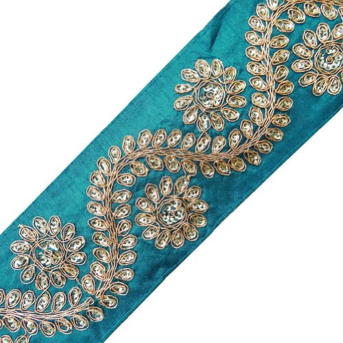 Fantastic Deal! Teal Blue Royal Fabric Trim Sequins Acrylic Thread Lace Sari Border Craft Sewing Cra...