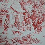 Toile de Jouy Fabric Red Authentic French Designer 100 Cotton Print 140cms 55 Wide sold by the metre