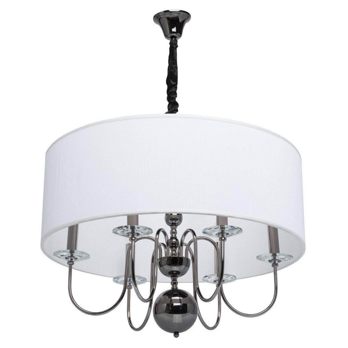 Deckenleuchte Deckenlampe Leuchte Lampe Elegance Style, rund Ø 70 cm, Nickel / Weiß, 6 x E14 max. 40 W