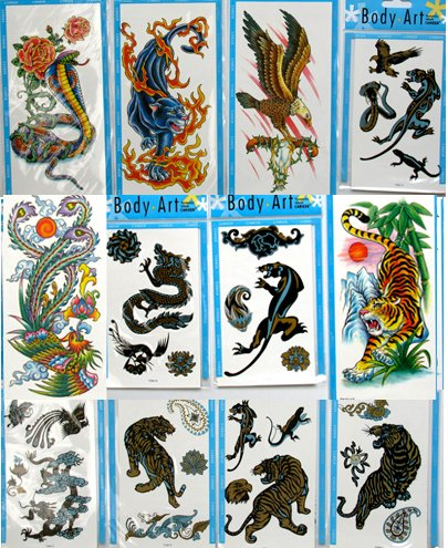 Animal Temporary Tattoos (12 Large Packs) Tiger Dragon Eagle Snake Panther Tattoos