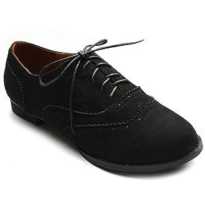 Ollio Women's Shoe Ballet Flat Faux Suede Wingtip Lace Up Oxford(6.5 B(M) US, Black)