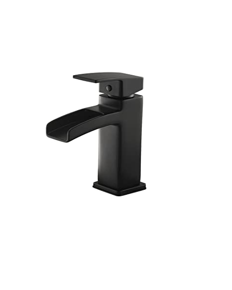"Pfister LG42-DF0B Kenzo Single Control Waterfall 4"" Centerset Bathroom Faucet in Black"