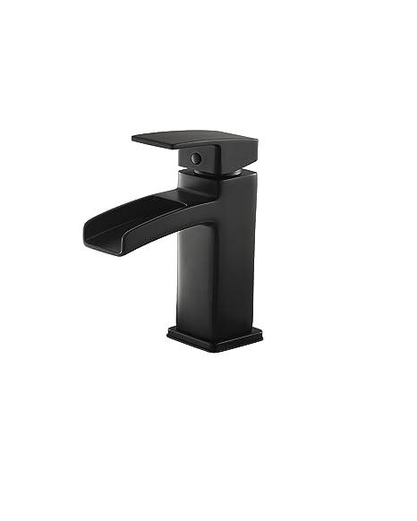 "Pfister LG42-DF0B Kenzo Single Control Waterfall 4"" Centerset Bathroom Faucet in Black"