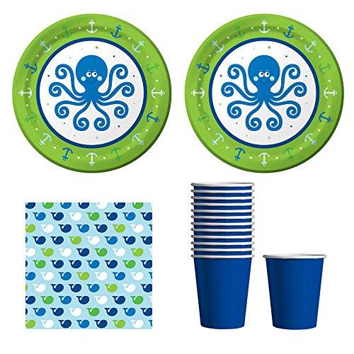 Ocean Preppy Baby Boy Party Supplies - 12-16 guests - cake Plates, Napkins & cups