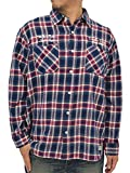 (スミスアメリカン) SMITH'S AMERICAN 大きいサイズ メンズ シャツ 長袖 チェックシャツ ネルシャツ 3color 6L ネイビー