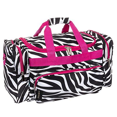 20-Print-Carry-On-Duffel-Bag-w-Pink-Trim-Black-White-Zebra