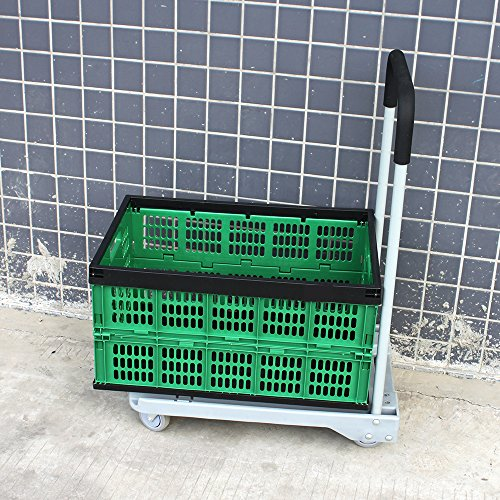 Agptek Green & Black Fold Flat Collapsible Plastic Storage Crate Shopping Basket Space-Saving Home Office Shed Plus Grey Plastic Flatform 4 Wheeled Hand Foldable Cart front-997834