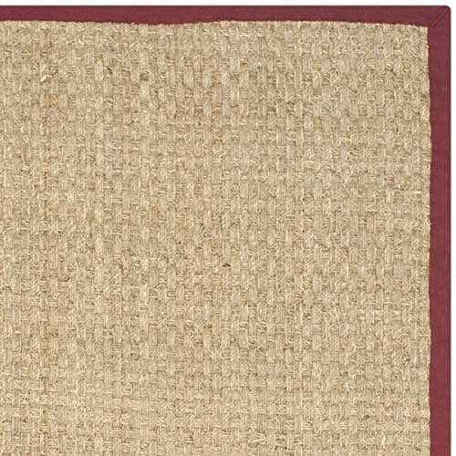 Safavieh Natural Fiber Collection NF114D Natural Background and Red Border Seagrass Area Rug, 2 feet by 3 feet (2'x 3')